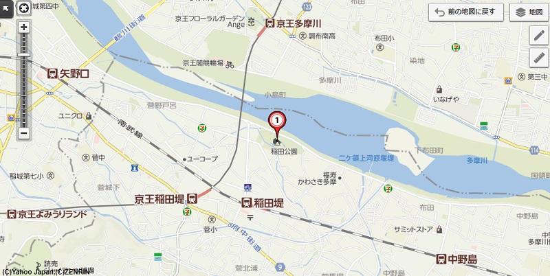 子供連れに人気の川崎市多摩区にある稲田公園の周辺地図