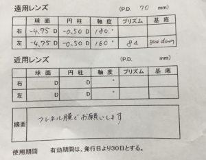 プリズム眼鏡処方箋△8